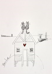 Love Cats Sketch III by Rebecca Lardner -  sized 9x9 inches. Available from Whitewall Galleries